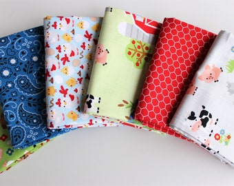18 Pieces Farm Fabric Down on the Farm Fat Quarter Bundle Precut Cotton Quilt Fabric Doodlebug Riley Blake Designs