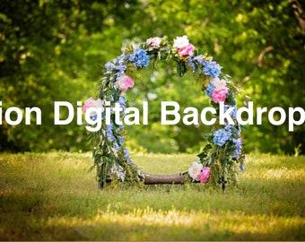 Floral Hoop Digital Backdrop