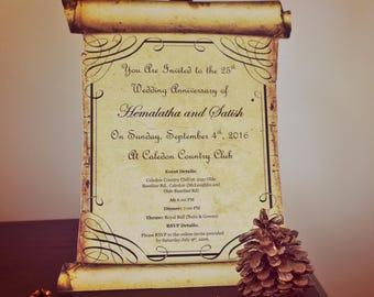 Vintage Scroll Wedding Invitation/Aged Scroll Special Event Invitation
