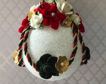 Victorian Christmas Ornament ~ Christmas Ornament ~ Unique Christmas ~ White Glass Ball ~ Red Green Gold ~ Gift Boxed