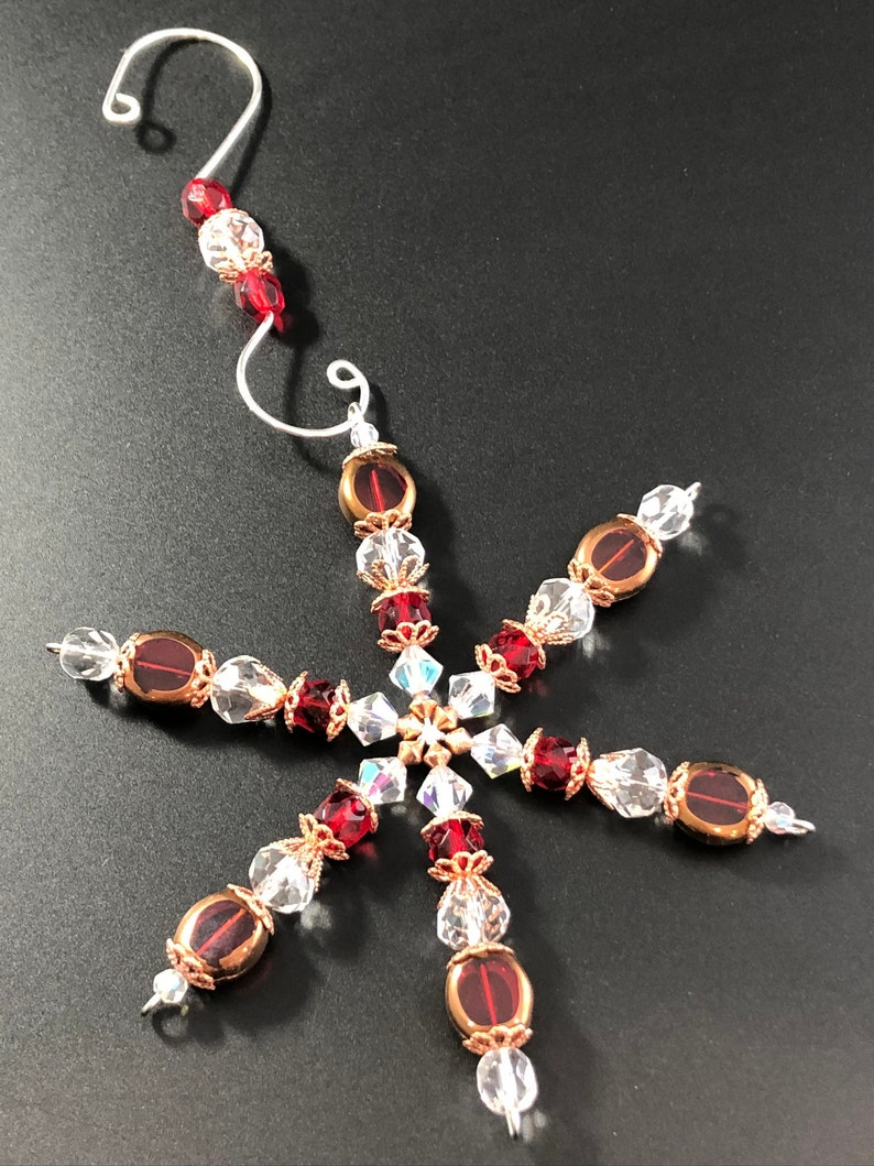 Snowflake Ornament ~ Beaded Snowflake ~ Suncatcher ~ Table Cut Glass ~  Red Copper and Clear  ~ Gift Boxed ~ Sparkly ~ Elegant and Unique
