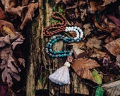 White Turquoise, Rosewood and Mystic Ocean Jasper 108 Mala Necklace LIFTED