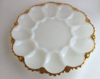 Anchor Hocking Milk Glass Deviled Egg Plate with Gold Rim