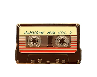 """Awesome Mix Vol 2 - 1.5"""" Enamel Lapel Pin - Cassette Tape/Mix Tape - Brown & Gold"""