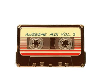 """Awesome Mix Vol 2 - 1.5"""" Enamel Lapel Pin  - Guardians of the Galaxy Inspired - Cassette Tape/Mix Tape - Brown & Gold"""