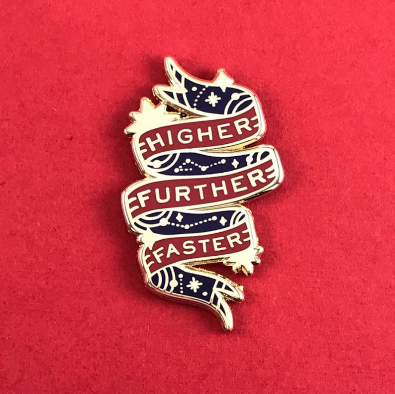 Captain Marvel Hard Enamel Pin Quote  Higher Further Faster image 0