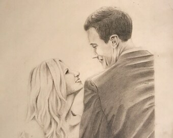 Custom Hand Drawn Couple Portrait