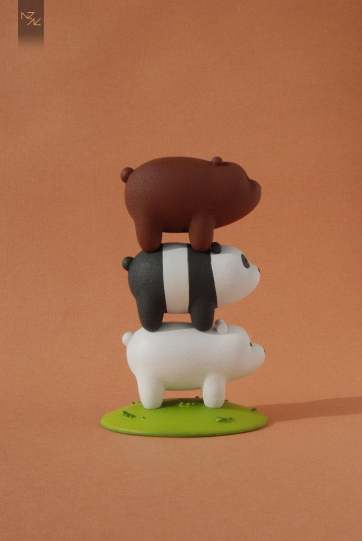 df32cc87a58b57 We bare bears Bears Stack Grizzly Panda Ice Bear figure | Etsy