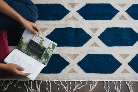 a8625471efec8 Hexa Blue handmade flatwoven modern kilim rug wool white beige