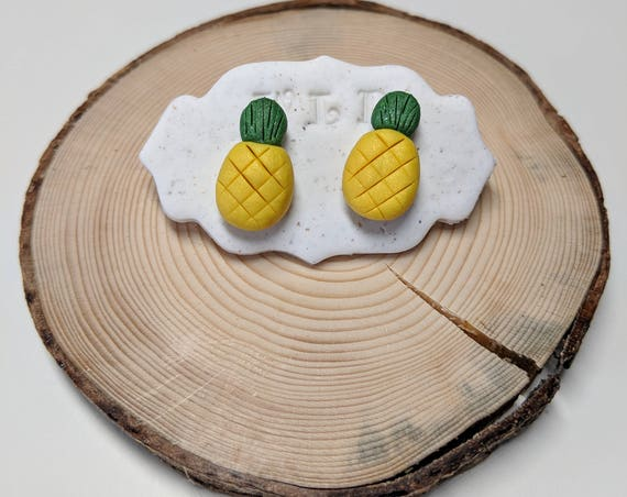 Handmade Polymer Clay Pineapple Stud Earrings