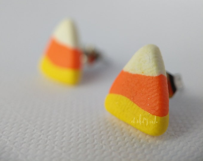 HALLOWEEN Mini Candy Corn - Handmade Polymer Clay Studs
