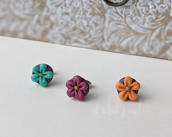 Handcrafted | Polymer Clay Jewelry | Flower Studs