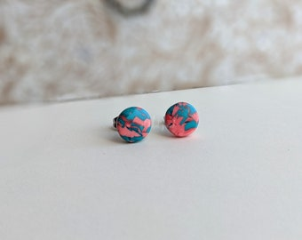 OOAK Pink & Teal Pixie Cane Studs