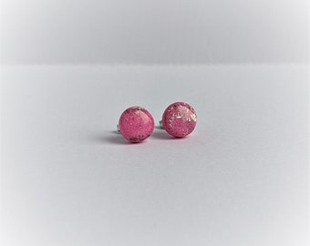 SILVER LEAF Pink Rounds - Handmade Polymer Clay Studs