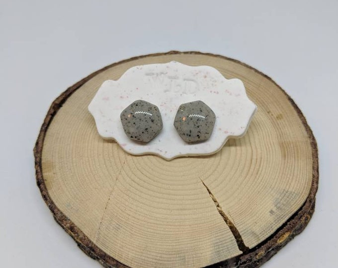 GEOMETRIC Hex Stone Stud Earrings