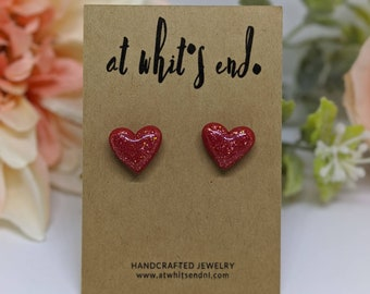 MJ Heart Studs - Red