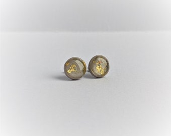 LIMITED FOIL Rounds - Handmade Polymer Clay Neutral Studs