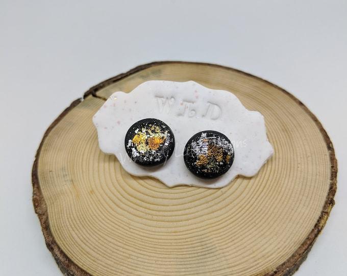 GOLD & SILVER FOIL Black Round Stud Earrings