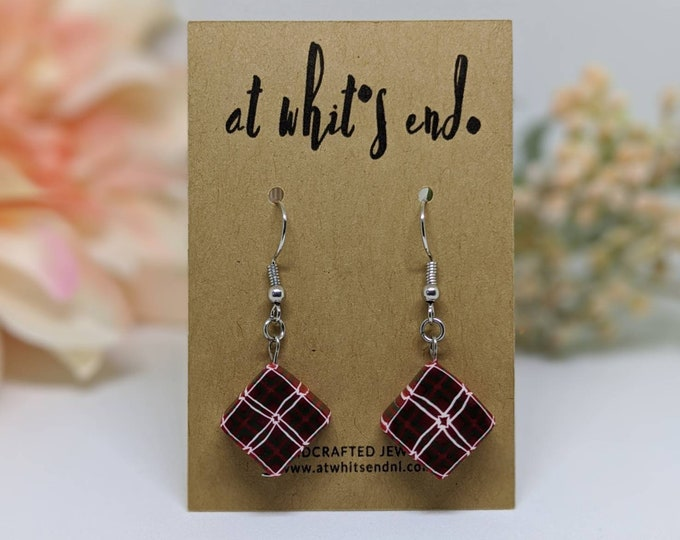 Red Plaid Dangles
