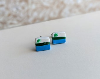 Handcrafted | Polymer Clay Jewelry | Labrador Flag Studs