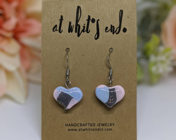 OOAK Abstract Heart Studs