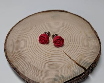 Handcrafted | Polymer Clay Jewelry | Red Rose Studs