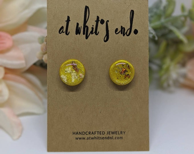 Yellow Gold Leaf Studs