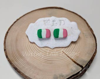 Handcrafted | Polymer Clay Jewelry | Newfoundland Tricolour Flag Studs