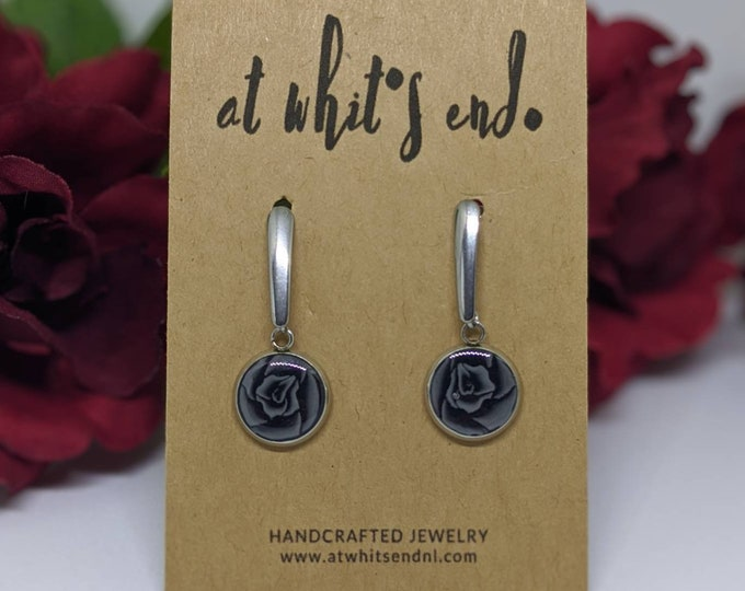 Black Rose Drop Earrings