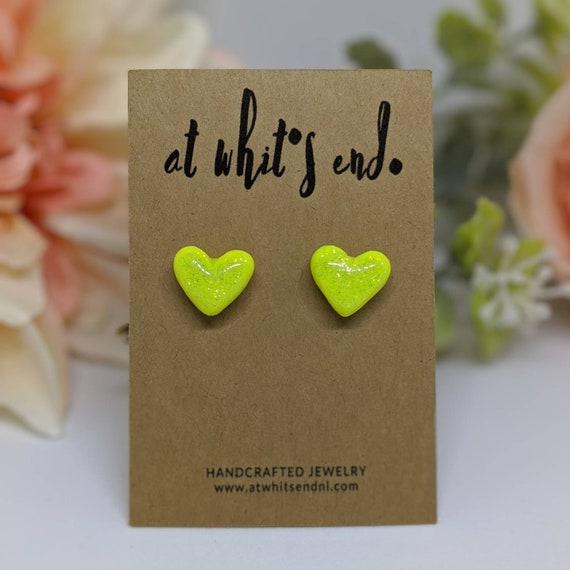 MJ Heart Studs - Neon Yellow