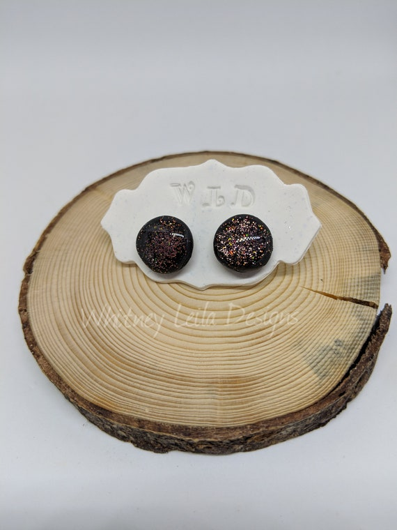 Handmade Polymer Clay Black Studs with Glitter & Resin