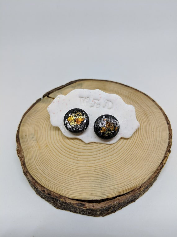 Handmade Polymer Clay  Foil Black Studs
