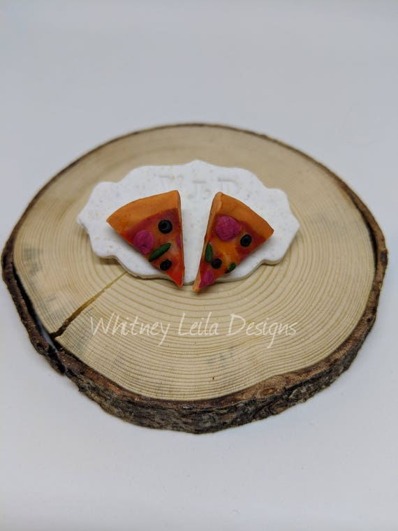 Handmade Polymer Clay Pizza Stud Earrings