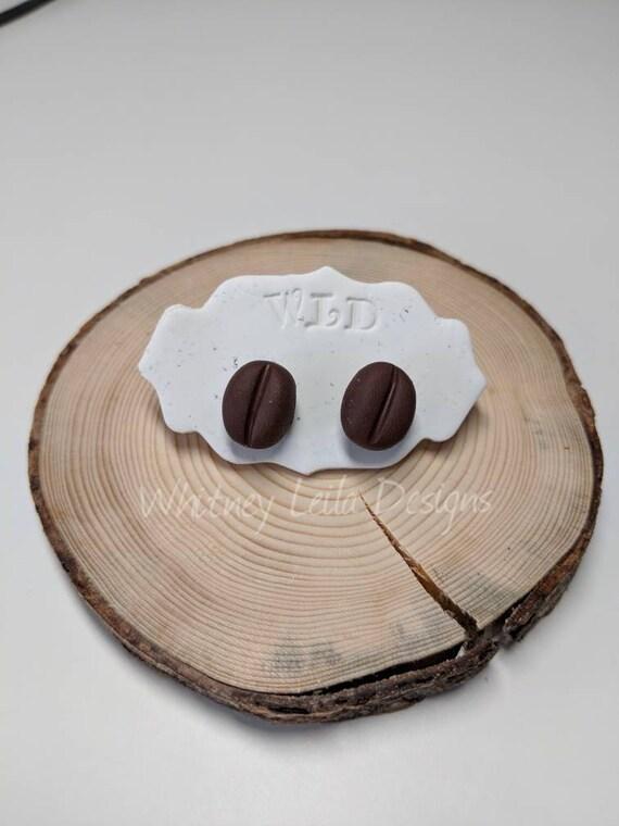 Handmade Polymer Clay Coffee Bean Studs