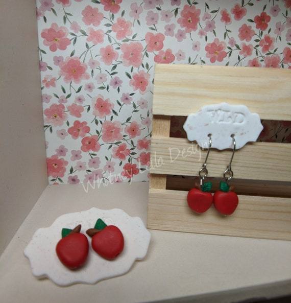 Polymer Clay Apple Earrings - Perfect for your teacher!