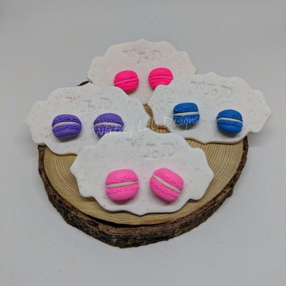Handmade Polymer Clay Macaron Studs