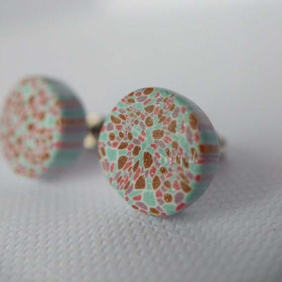 LIMITED CANE Rounds - Handmade Polymer Clay Studs