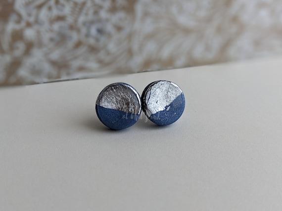 Half Foil Blue Studs