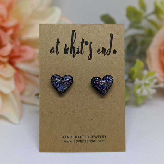MJ Heart Studs - Black