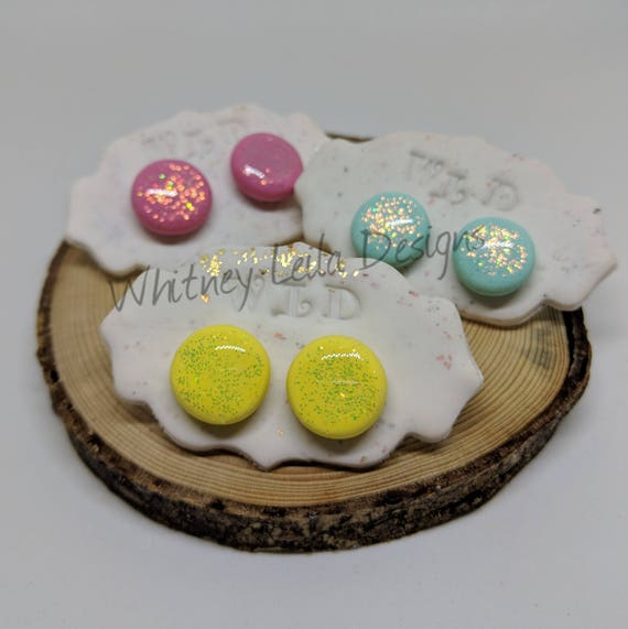 Handmade Polymer Clay, Glitter & Resin Round Studs - Colours Inspired by Cocofloss