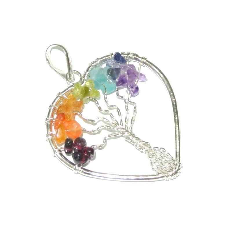Citrine Tree of Life Heart Shape Earings for Reiki Healing Spiritual Crystal