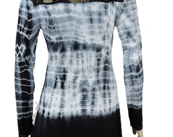 Black White Hand Tie Dye Women Shark Bite Lace Shirt V-neck Long Sleeves by Sugar Rock