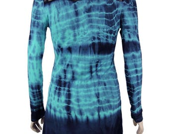Green Navy Hand Tie Dye Women Shark Bite Lace Shirt V-neck Long Sleeves by Sugar Rock