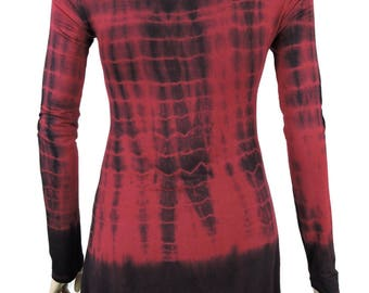 Burgundy Black Hand Tie Dye Women Shark Bite Lace Shirt V-neck Long Sleeves by Sugar Rock