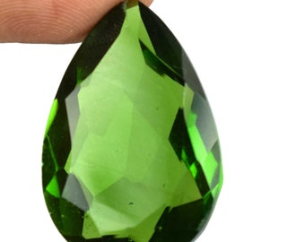 29.95 Carat IGL Certified Pear Cut Brazilian Olive Green Peridot Loose Gemstone