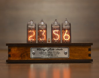 BESTSELLER Nixie Tube Clock IN 14 Nixie Clock Vintage Table Clock Wooden  Case Home Decor Gift For Dad Boyfriend Husband