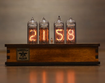 Nixie Tube Clock 4x IN 14 Retro Desk Vintage Table Assembled Tested Wooden Alder Case Home Decor Gift For Man Glowing