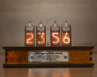BESTSELLER Nixie Tube Clock with New and Easy Replaceable IN-14 Nixie Tubes, Motion Sensor, Visual Effects, Fathers Day Gift Idea