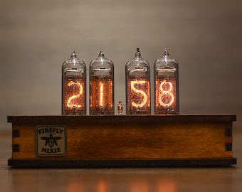 Nixie Tube Clock with New and Replaceable IN-14 Nixie Tubes, Motion Sensor, Home Decor Idea, Fathers Day Gift