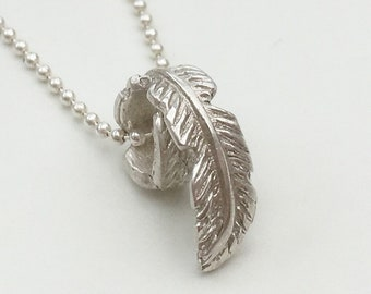Sterling Silver Curled Feather Necklace